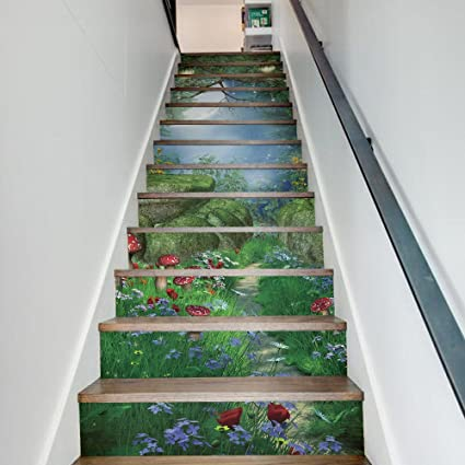 Funlife Wall Murals Home Improvement Stair Riser Art Magic Forest For Stair  Risers   Stairway Staircase