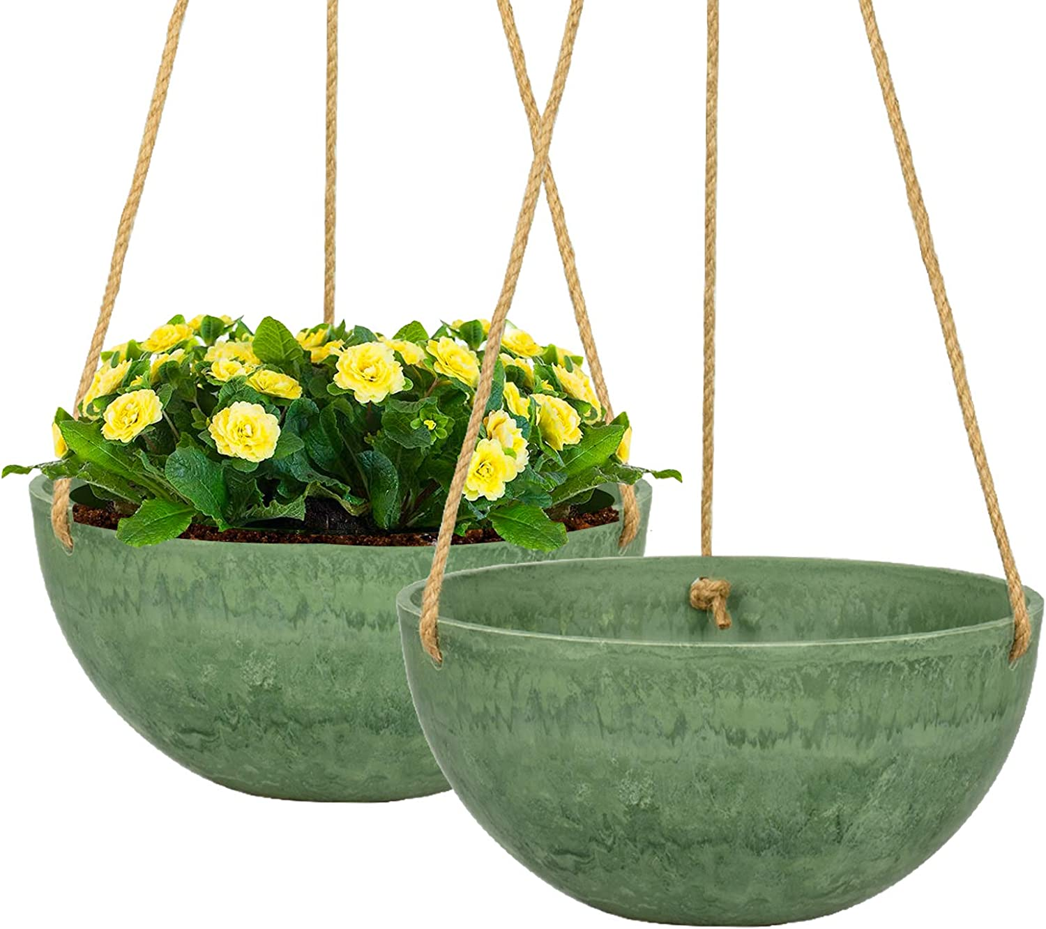 VICHOCCA Hanging Planter 10 Inch Flower Pot Hanging Basket Plant Holder with Marble Pattern for Indoor Outdoor Home Bedroom Balcony Garden Decor, 2 Pack, Emeral Green