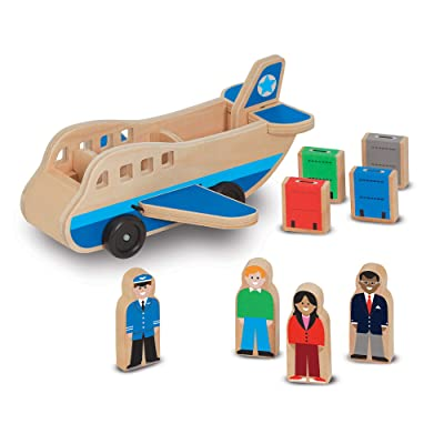 Melissa & Doug Wooden Airplane Play Set With 4 Play Figures and 4 Suitcases: Melissa & Doug: Toys & Games