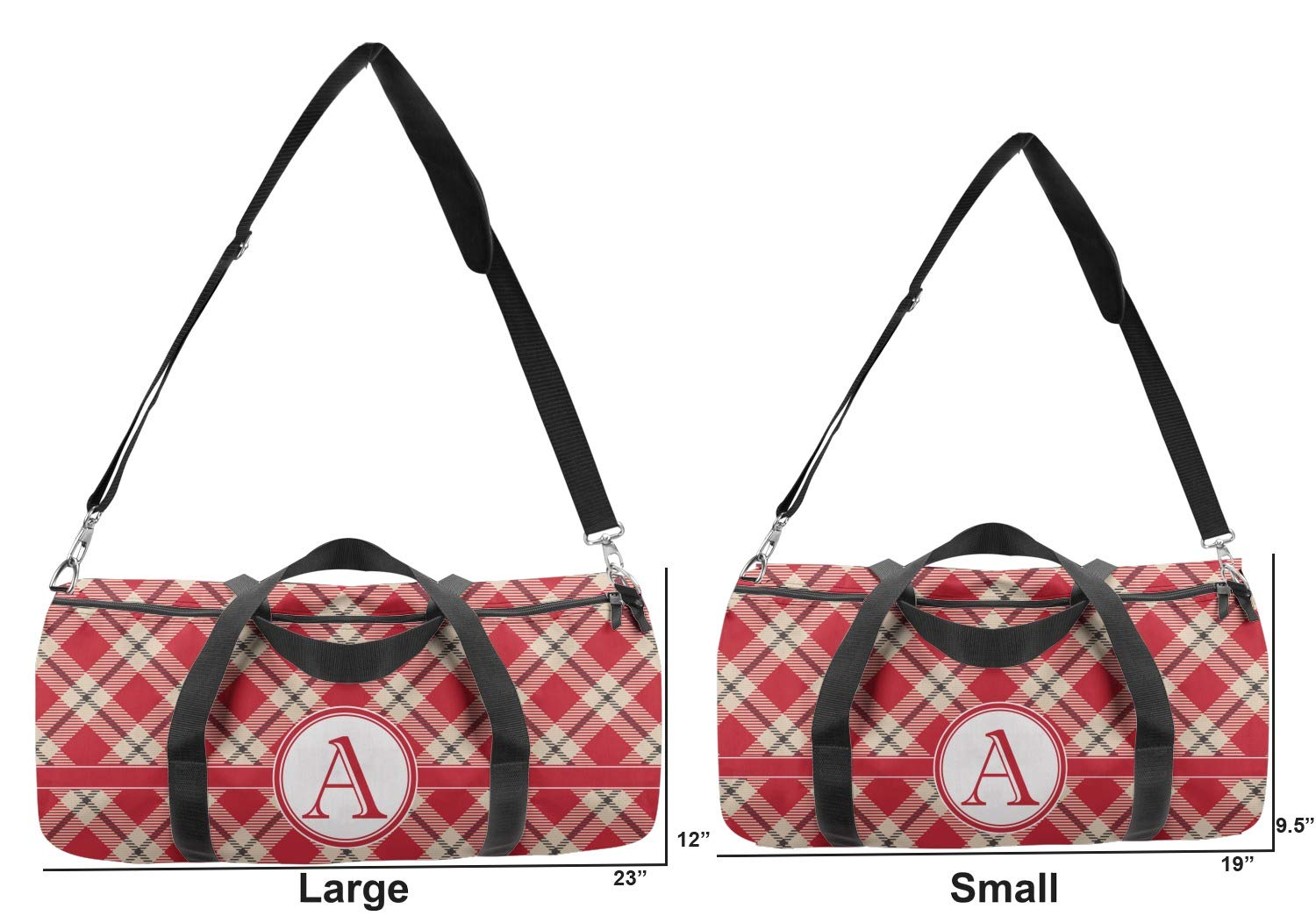 Multiple Sizes Personalized YouCustomizeIt Red /& Tan Plaid Duffel Bag
