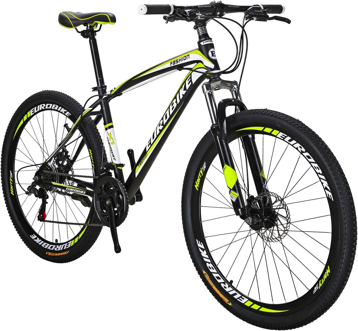 Eurobik OBK 27.5 Wheels Mountain Bike Daul Disc Brakes 21 Speed Mens Bicycle Front Suspension MTB