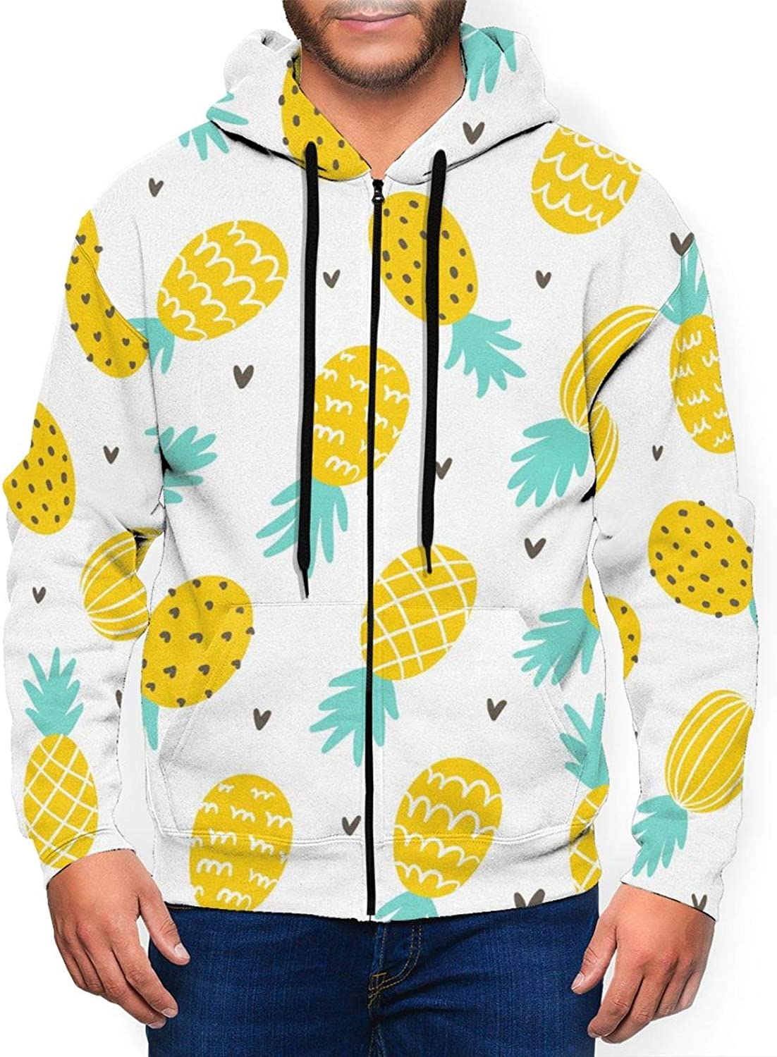 Lanbay Men's Hoodies Sweater Pineapple and Hearts Hoodie 3D Printed Jacket Zipper Pullover Sweatshirt Shirt