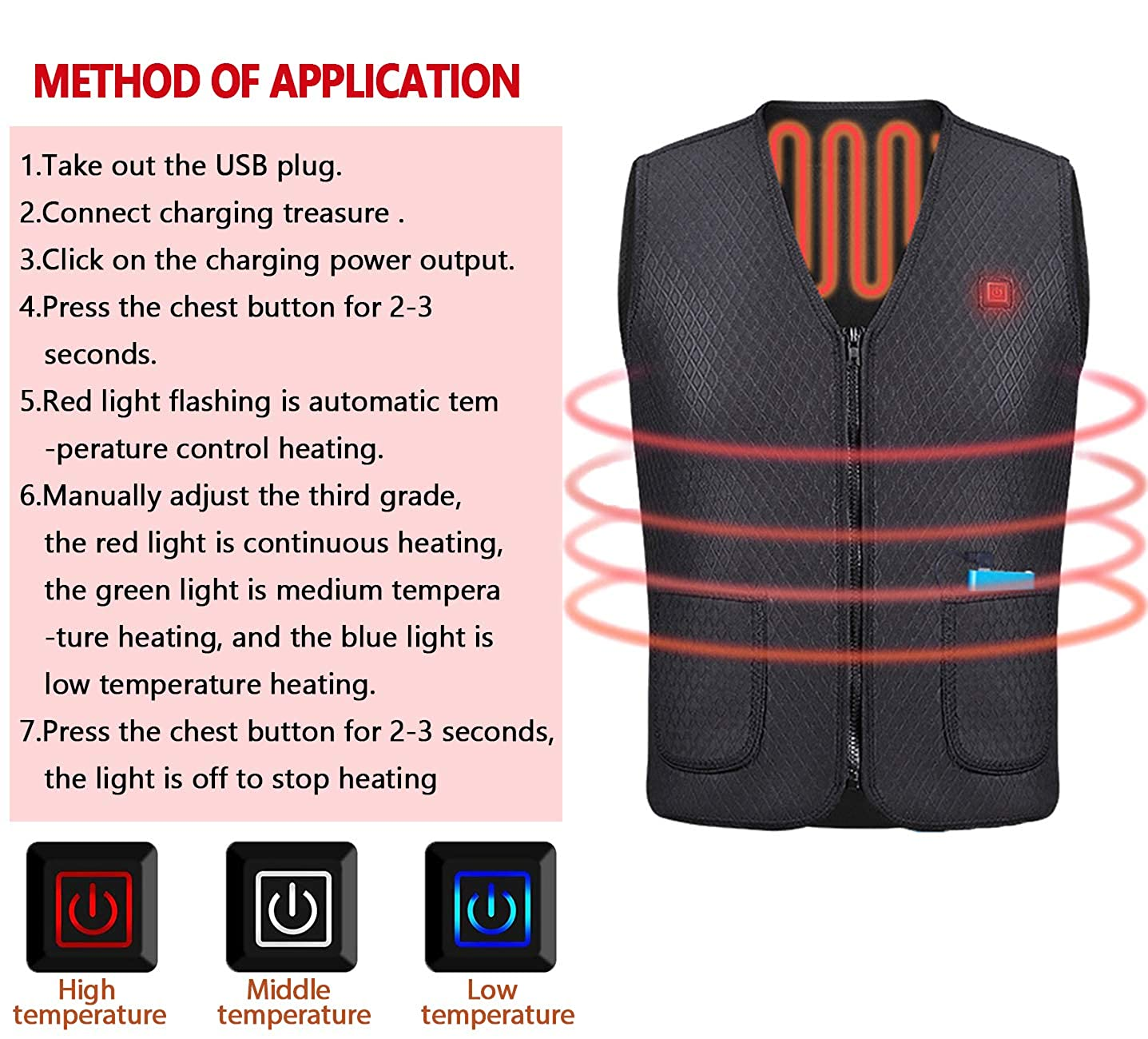Battery Electric Warm Heated Clothing Innifer Mens//Womens Winter Electric Heated Vest