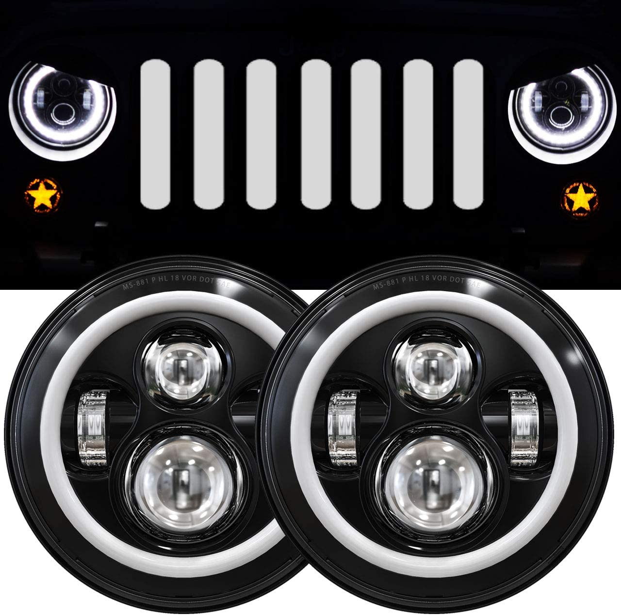 7 Inch LED Halo Headlights with Turn Signal Amber White DRL for H6024 2007-2017 Jeep Wrangler JK JKU Headlamp Replacement-1 Pair Black