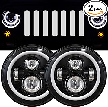 Amazon Com 7 Inch Led Halo Headlights With Turn Signal Amber White Drl Compatible With 2007 2017 Jeep Wrangler Jk Jku Headlamp Replacement 1 Pair Black Automotive