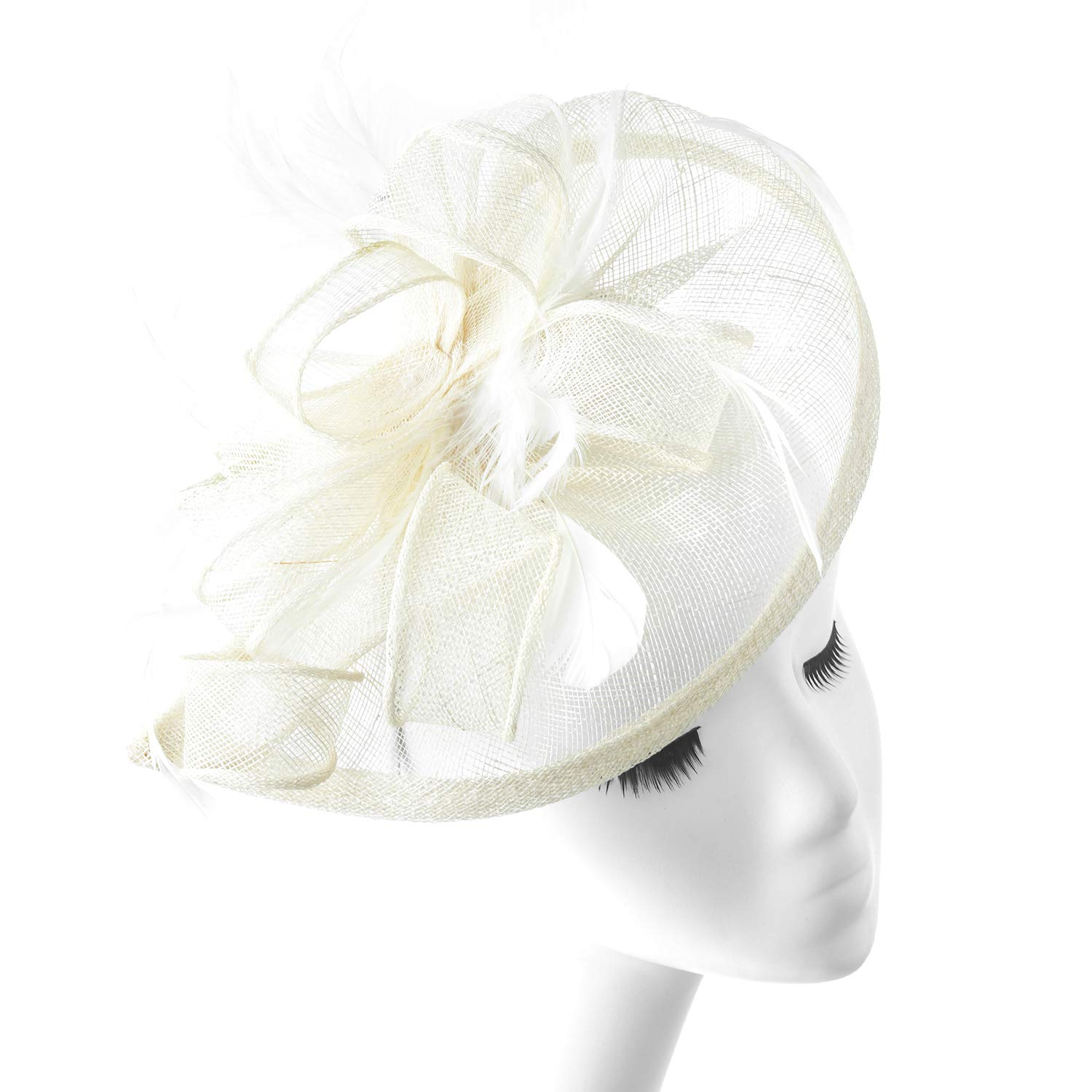 FENTORY Fascinators Women Sinamay Wedding Hats Tea Party Headband (Beige)
