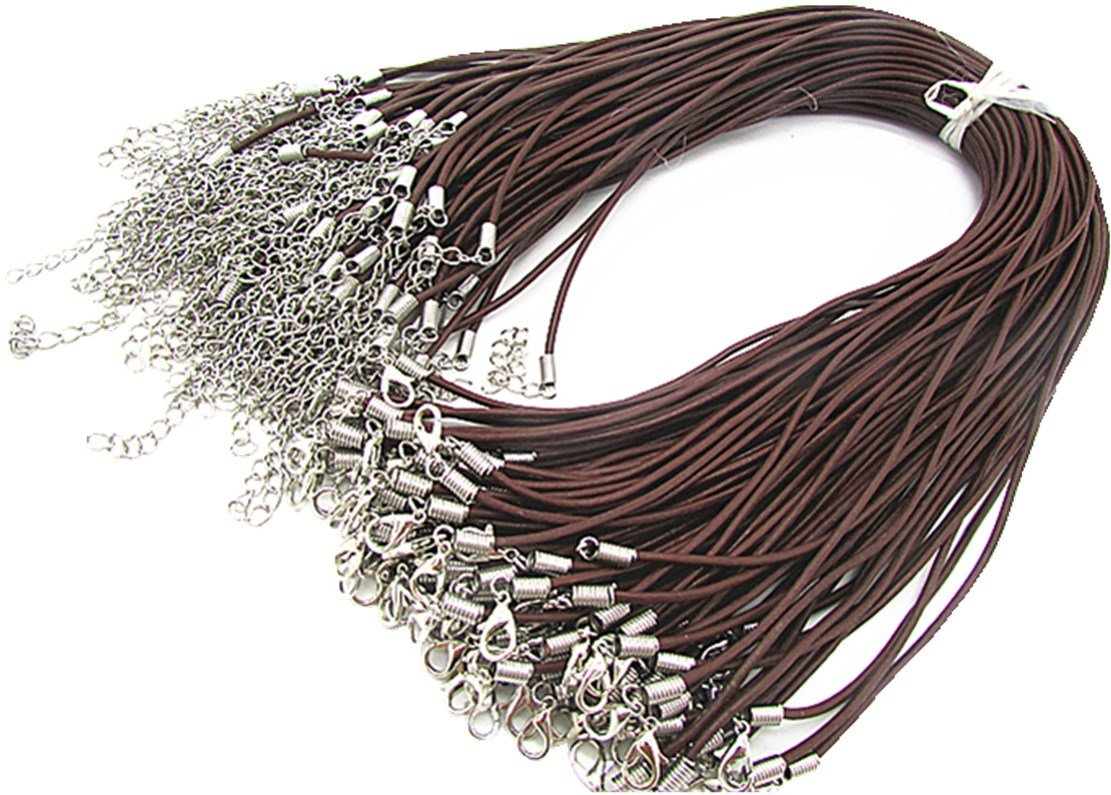 Wbang 18'' Genuine Leather Round Necklace Cord Rope Necklace Chain with Lobster Claw Clasp (Brown, 50Pcs)