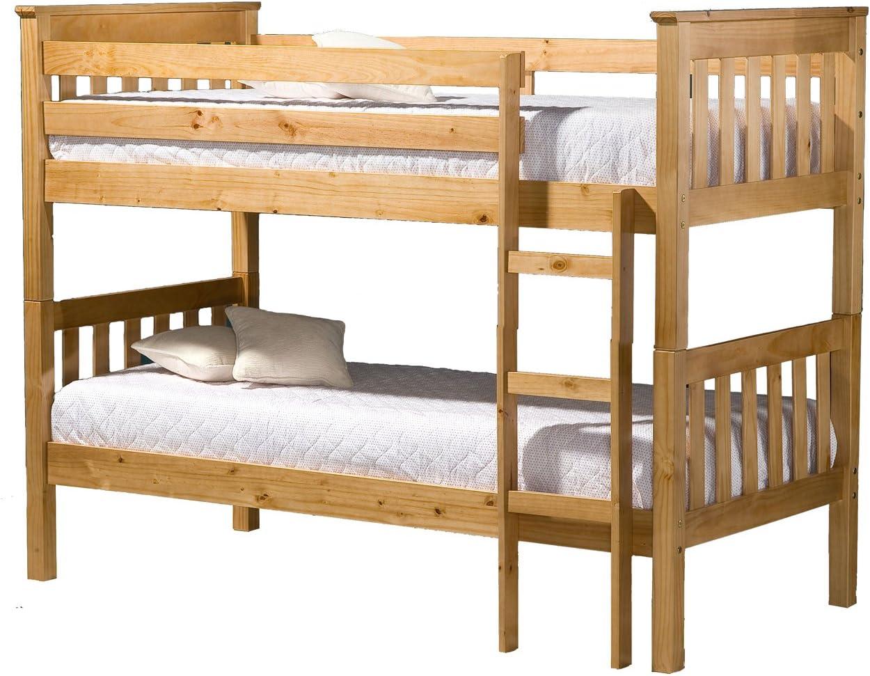 Casa fuente – Litera pino somier de madera Base fija escalera para cama individual dormitorio 3 ft: Amazon.es: Hogar