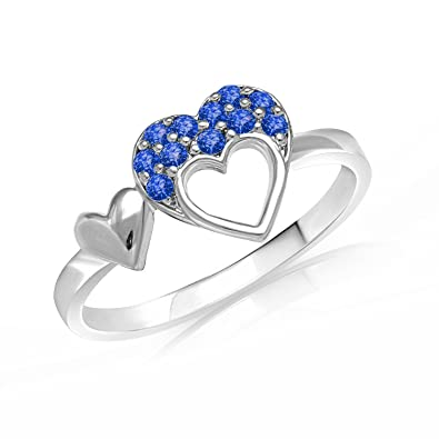 3c43267f3af82 Valantine Gifts - Mahi with Swarovski Crystals Blue Double Heart Rhodium  Plated Valentine Love Ring for Women FR1104001RBlu