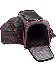 Petsfit Komfort Erweiterbarer Haustiertragetasche für Hunde und Katzen, Rot, Weiche Seiten