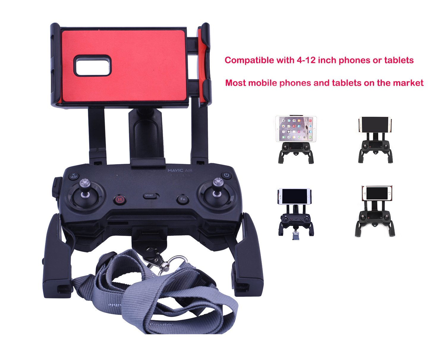 4-12 Inch Phone Tablet Extended Mount Holder With Neck Strap Foldable Bracket for DJI Mavic Air Pro Spark DJI Mavic Air Pro Spark Accessories Qubuy Adjustable Remote Controller Mount Holder