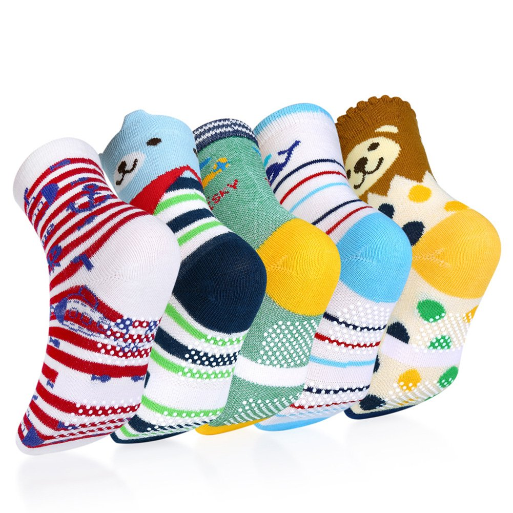 Baby Socks, VBIGER 5 Pairs Anti-slip Boys Girls Toddler Socks Catoon Print Cotton with Grips Socks for Aged 3-5