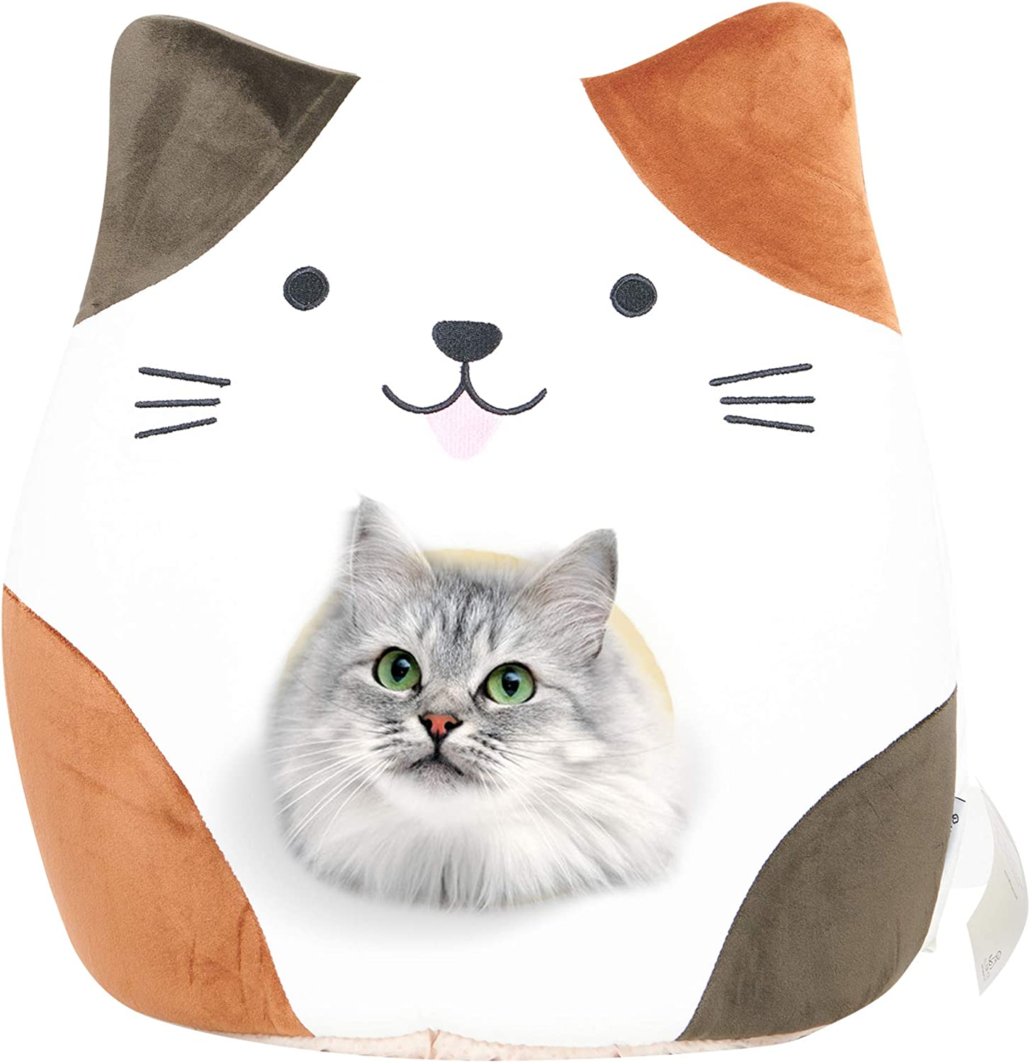 All Fur You Cat Face Cat Cave Bed, Cat House for Indoor Cats, Cubby Cat Hideaway Dome Bed Cat Tent Pod Igloo Pet Cave Cat Home Pet Cubes Felt Warm Cozy Caves Cat Hut Covered Beds Puppy Houses