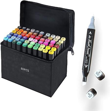 60 Colores Marker Pen Set Dibujo Rotulador Animación Boceto Marcadores Set con Estuche de Transporte para Dibujar Colorear Resaltar y Subrayar (60 Pcs): Amazon.es: Hogar