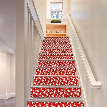 KKLOVEJ Kreativ 3D DIY Treppen Aufkleber Weihnachten Kleine Glocken Tür  Renoviert Dekorieren Sie Wandbilder Wasserdicht Rot