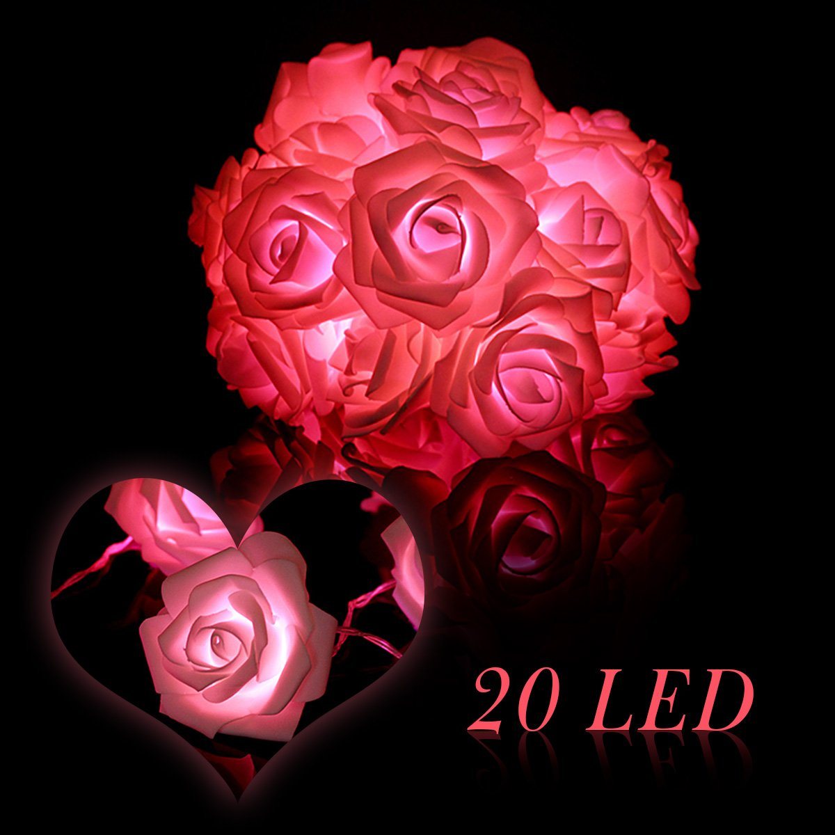 KINGSO 20 LED Battery Operated Rose Flower String Lights Wedding Garden Christmas Decor (Pink)