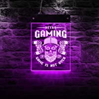 Retro Gaming LED Wall Lighting Sign Classic Gamepads Acrylic Hanging Display Board Novelty Light Man Cave Game Room Art…