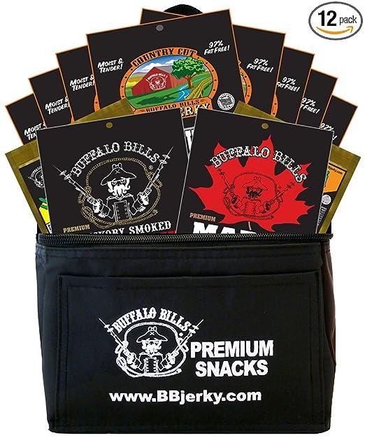 Buffalo Bills 12-Piece Beef Jerky Sampler Black 6-Pack Gift Cooler