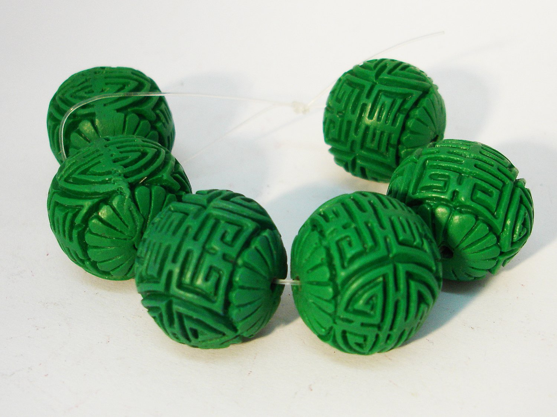 2 chinesische Zinnober Lackperlen, 24x27mm, grün, ED88P grün Meinperlenshop