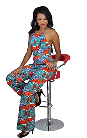 a56a6721ea Amazon.com  Ashanis Women s Dinah African Print Jumpsuit - Teal ...