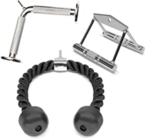A2ZCARE Combo Tricep Press Down Cable Attachment | Multi-Option: Double D Handle, V-Shaped Bar, Tricep Rope, Rotating Straight Bar