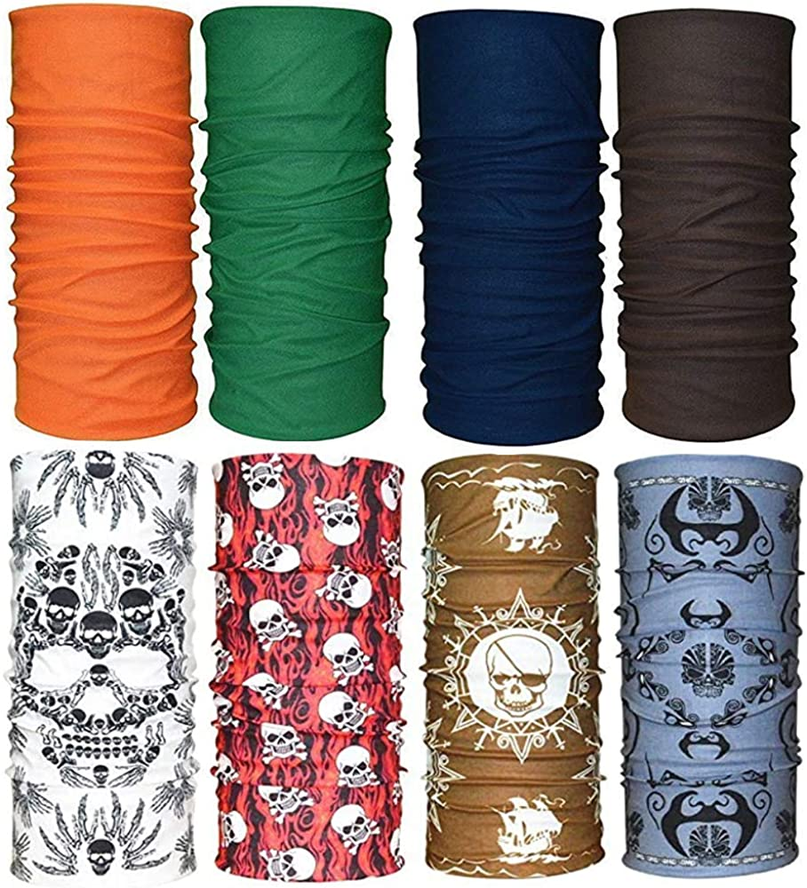 Dust Windproof Bandanas Sweat Wicking /&Breathable Headbands QING 8 Neck Gaiter Face Covering Scarf Anti UV