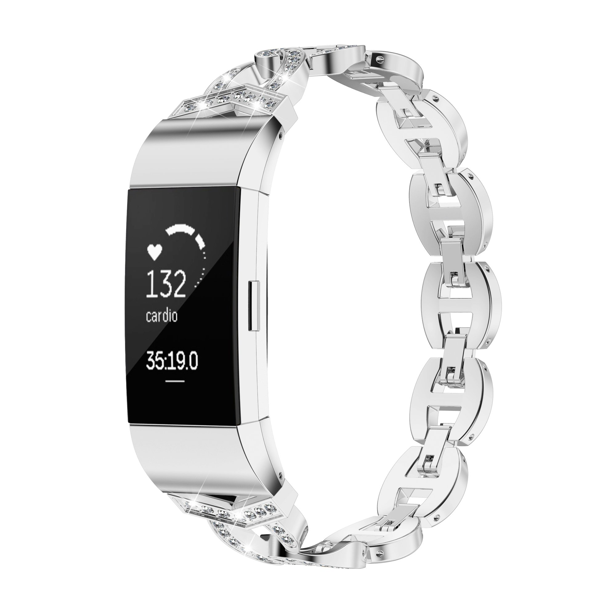 TOYOUTHS Compatible Fitbit Charge 2 Bands Metal Replacement Strap Rhinestone Accessories Bling Bracelet
