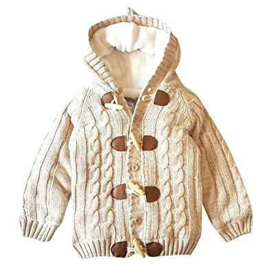 850481b7d Kids Baby Fleece Lined Chunky Hooded Cardigan Warm Knitted Sweater Winter Coat  Outfit: Amazon.co.uk: Clothing