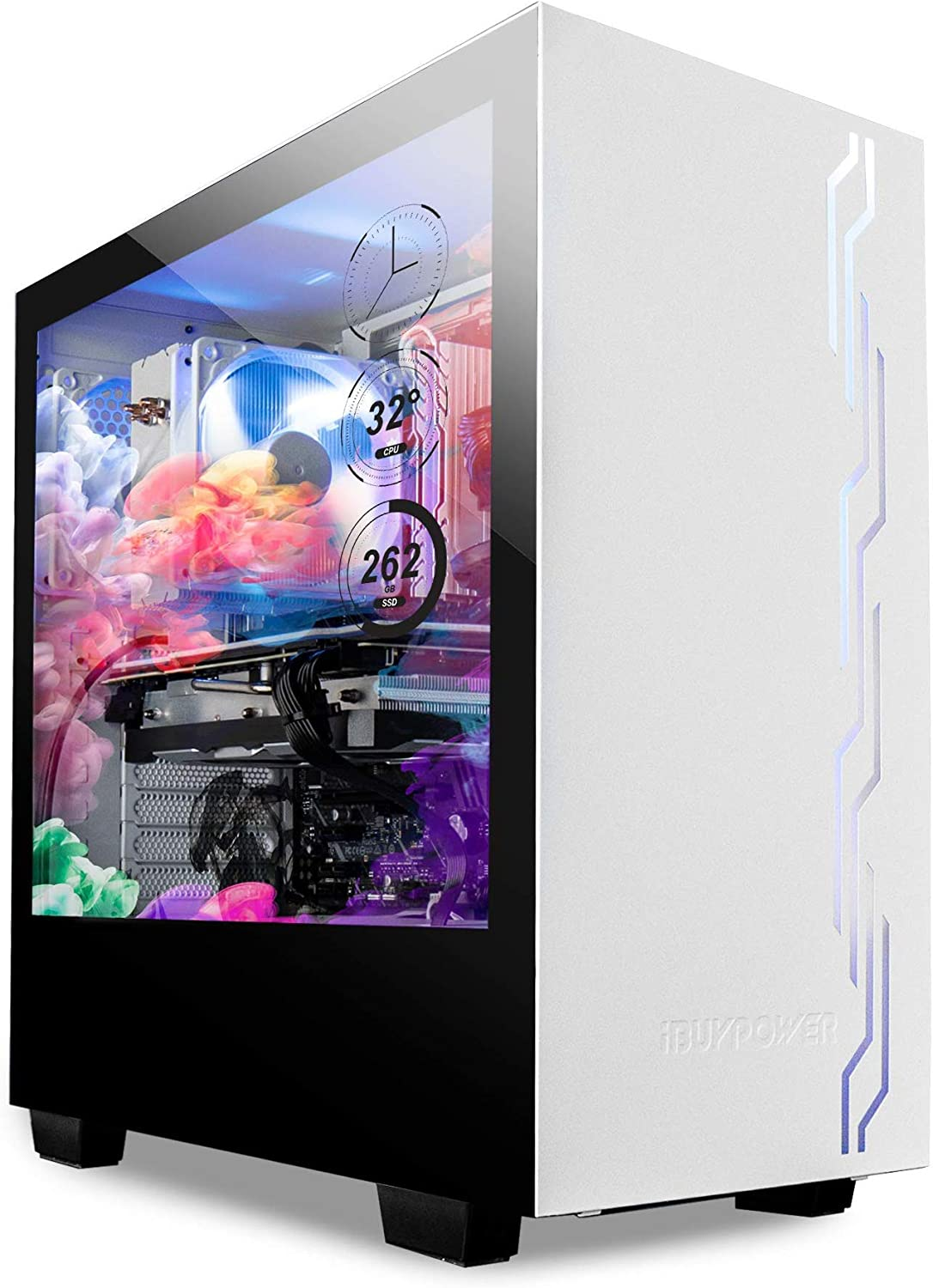 "iBUYPOWER Snowblind S 19"" Translucent Customizable Side-Panel LCD Display 1280 x 1024 Resolution Mid-Tower Desktop Computer Gaming Case 3 x 120mm Fans SECC Steel, White"