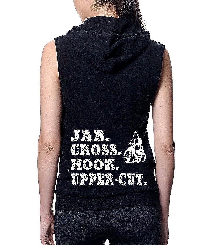 Upper-Cut Cross Hook Boxing Gloves Black Sleeveless Fleece Zipper Hoodie Juniors Jab