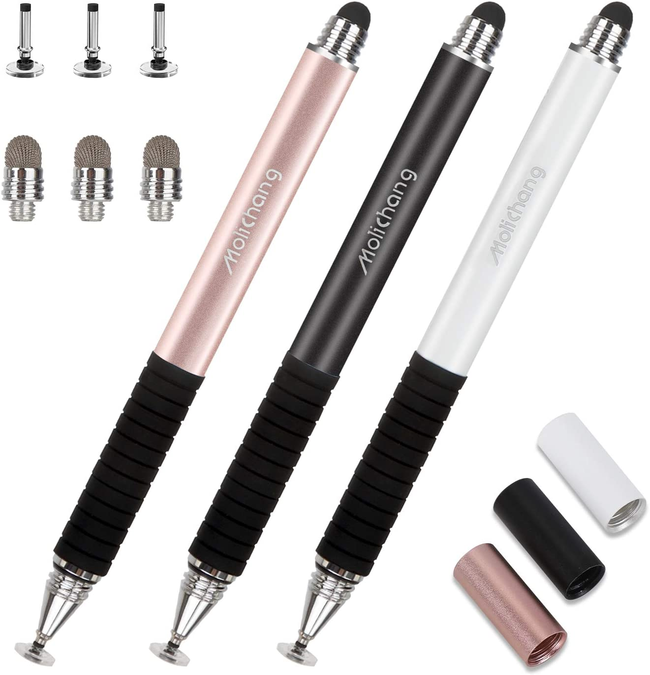 Capacitive Stylus Pens, 2 in 1 Universal Disc Stylist Pens for All Capacitive Touch Screens Cell Phones, iPad, Tablet, Laptops with 6 Replacement Tips by Molichang (3 Pcs) (Black/White/Rose)