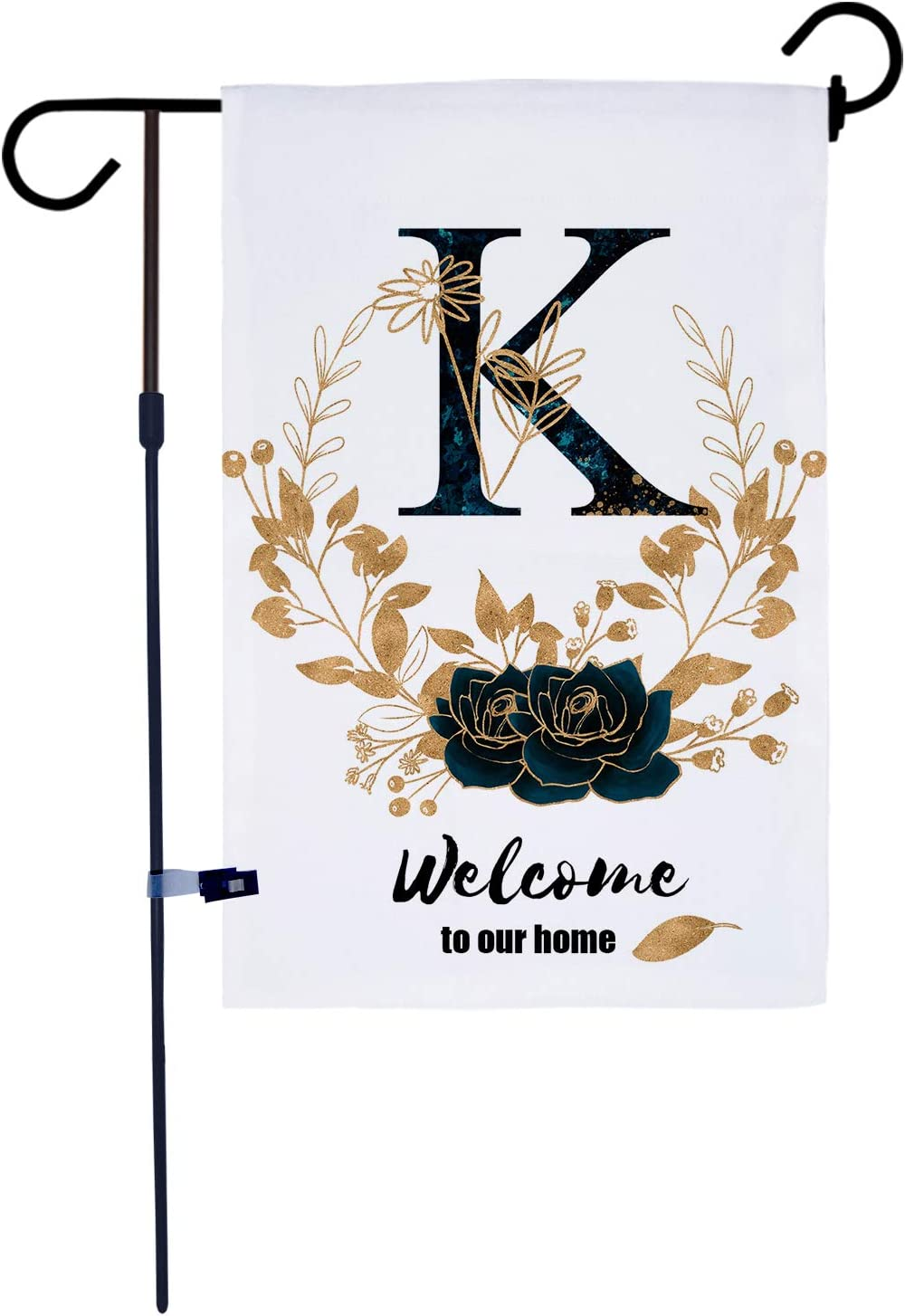 AKPOWER Small Garden Flag Vertical Double Sided Farmhouse Burlap Yard Outdoor Decor Classic Monogram 12 x 18 Inch Letter K