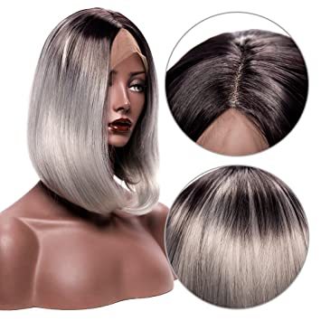 Gray Wigs for Women Lace Front Wigs Synthetic