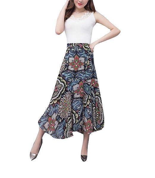 1e4265dbbad YUCH Falda De Mujer De Chifón Elegante Y Grande Código De Ropa De Verano:  Amazon.es: Ropa y accesorios
