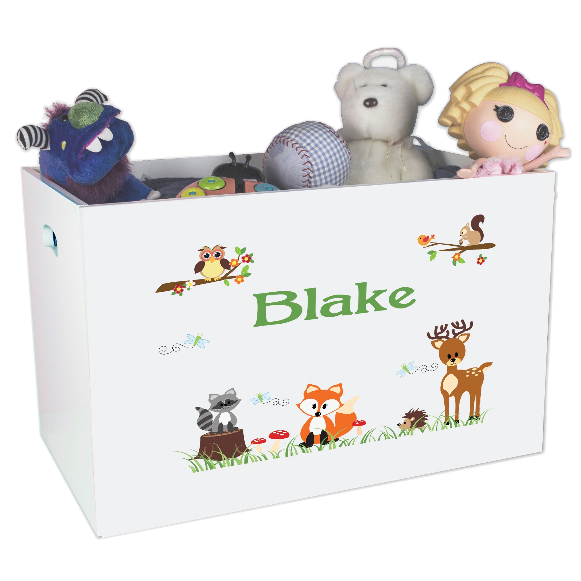 Personalized Woodland Critters Childrens Nursery White Open Toy Box by MyBambino (Image #1)