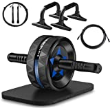Syntus Upgraded 6-in-1 AB Wheel Roller with Knee Pad Push Up Bars Handles Grips Adjustable Skipping Jump Rope, Home Gym…