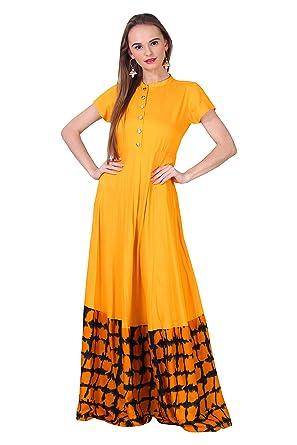 6a5a02e33c Angel's Fashion Stylish Casual Long Dress One Piece-Rayon Fabric,Color- Yellow,