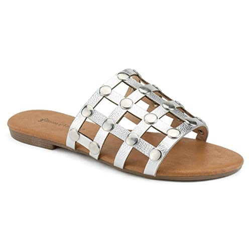 7cc98c8f176 RF ROOM OF FASHION Women s Slip On Studded Caged Slide Sandals Silver  Size.5.5