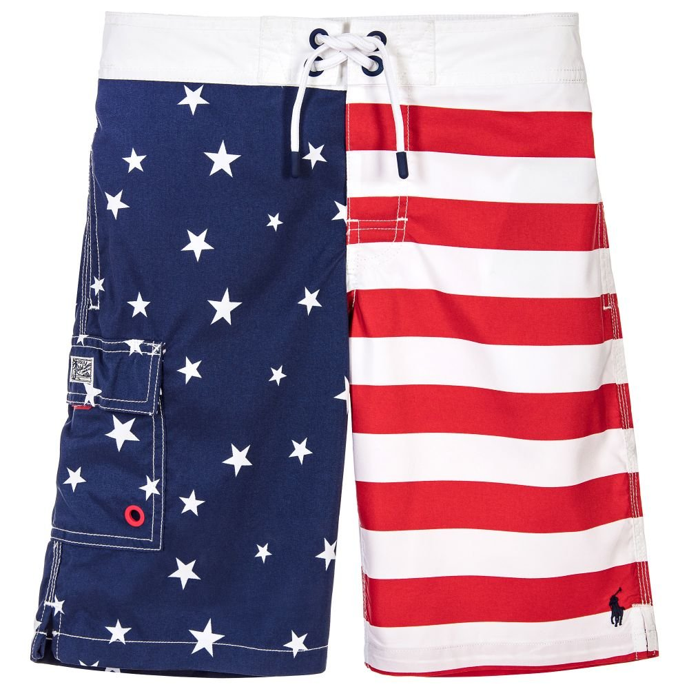RALPH LAUREN Polo Boys USA Flag Print Swim Trunks