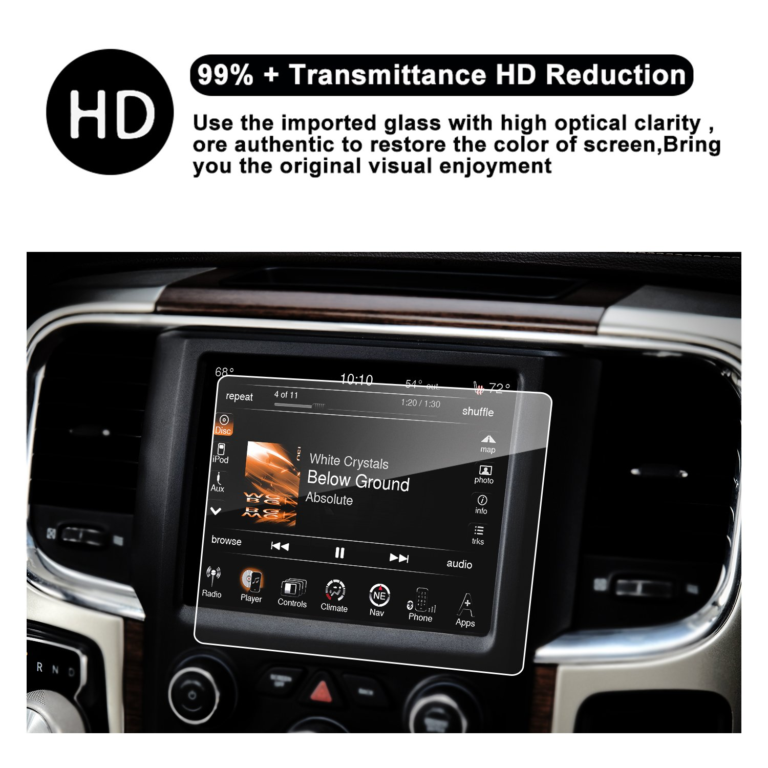 RUIYA 2014-2017 Ram 1500 2500 3500 8.4-Inches Car Navigation Protective Film,Clear Tempered Glass HD and Protect your Eyes