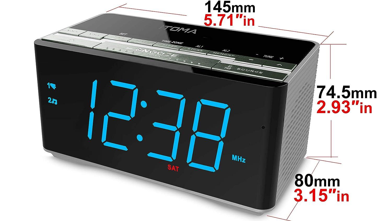 1,8-Zoll-gro/ße eisblaue LED-Anzeige USB-Aufladung CKS508 Zwei Alarme automatische Dimmersteuerung iTOMA FM Digital Radiowecker Nachttisch-Wecker mit Nachtlicht Radiowecker