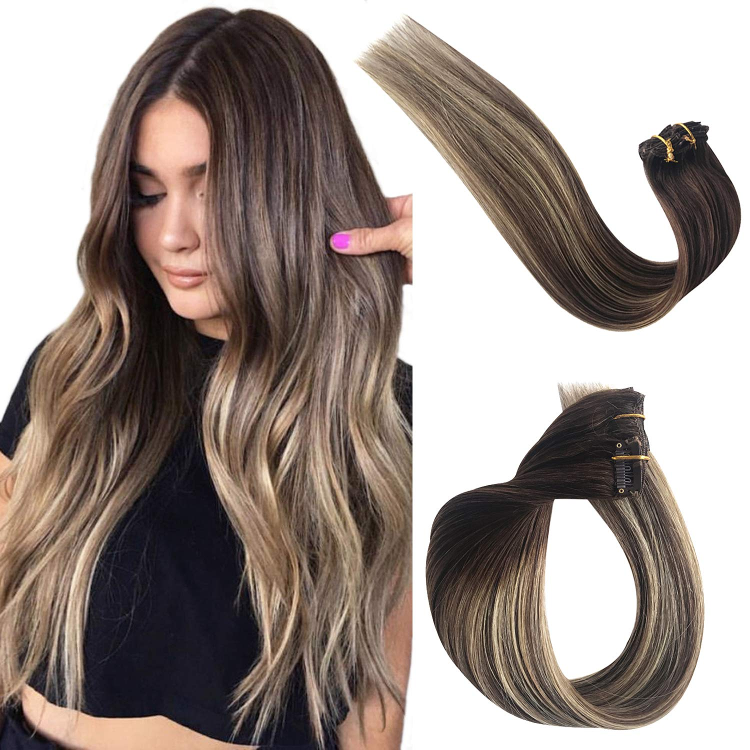 Benafee Clip in Hair Extensions Human Hair for Black/White Women Ombre  Balayage Real Remy Hair Extensions Clip on Medium Brown with Honey Blonde  ...
