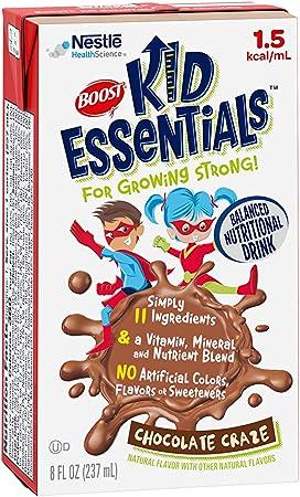 BOOST Kid Essentials 1.5 Balanced Nutritional Drink for Children, Chocolate Craze, 8 fl oz (Pack of 27)