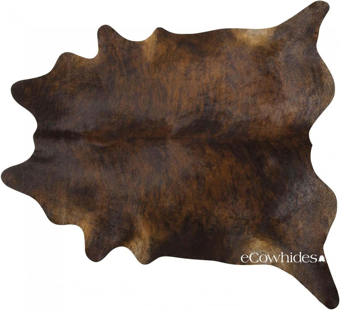 eCowhides Dark Brindle Brazilian Cowhide Area Rug, Cowskin Leather Hide for Home Living Room Large 6 x 6 ft