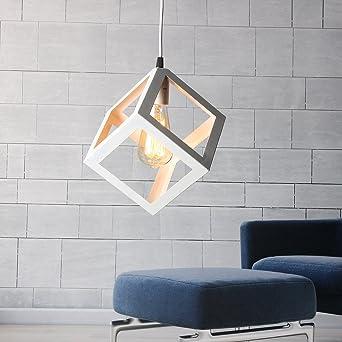 KINGSO E27 Hängelampe Loft Kreative Cube-Design Pendelleuchte Weiß ...