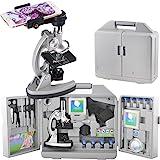 gosky Kinder Mikroskop Set mit Metall Arm und Fuß, 300x 600x 1200x Vergrößerungen, inkl. 70Stück + Zubehör Set und praktische Aufbewahrung Gase mit Smartphone Adapter