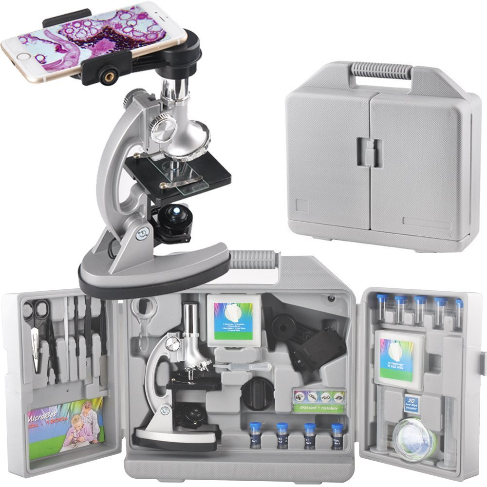 Gosky Kids set microscopio ingrandimenti con braccio e base in metallo, 300 x 600 x 1200 x, include 70PCS + set di accessori e pratico contenitore case- con adattatore per smartphone 300x 600x 1200x