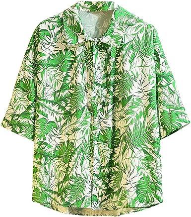 CAOQAO Camisa Hombre Hawaiana Manga Corta Verano Spagnolo ...