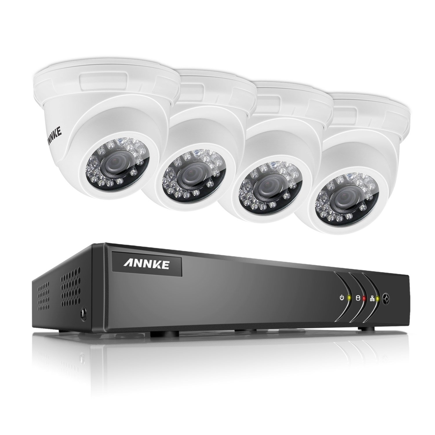 ANNKE 8CH CCTV Camera Systems 1080P Lite H.264+ DVR and (4) 720P Outdoor Fixed Dome Cameras with IP66 Weatherproof Day/Night Vision, Smart playback, Minimize false alerts