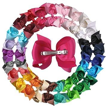 XIMA 25pcs 5inch Grosgrain Boutique Hair Bows with Clip for Children Hair Acc...